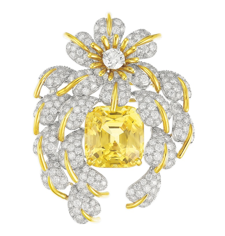 A yellow sapphire and diamond 'Cascade of Leaves' brooch by Jean Schlumberger, Tiffany & Co. Estimate $40,000-60,000. Offered in Elegance A Collection from the Estate of Jean Tailer, part of Magnificent Jewels on 16 April at Christie's in New York