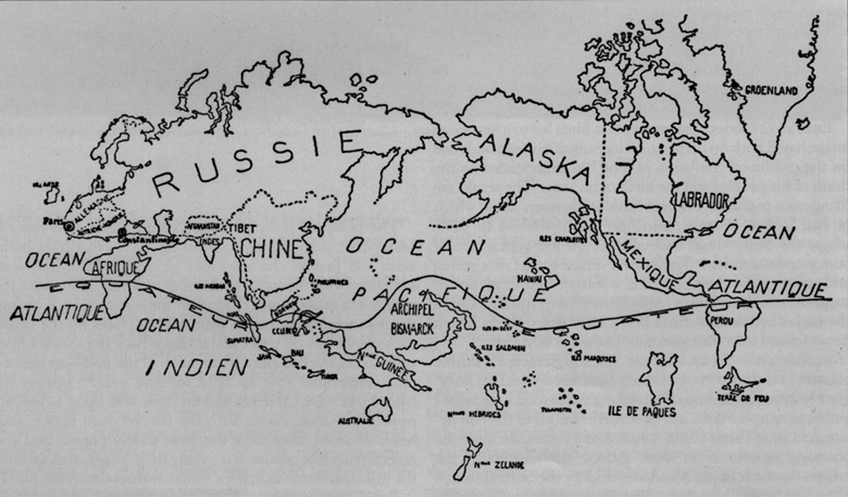 The Surrealist map of the world, first published in the journal Variétés in 1939