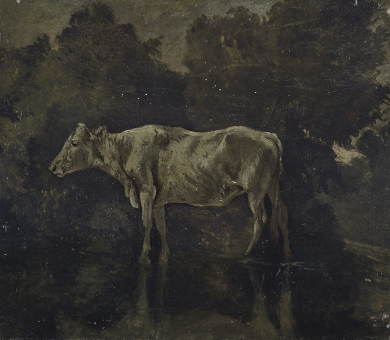 The reverse of Constable's The Skylark, Dedham, reveals Study of a Cow Standing in a Stream