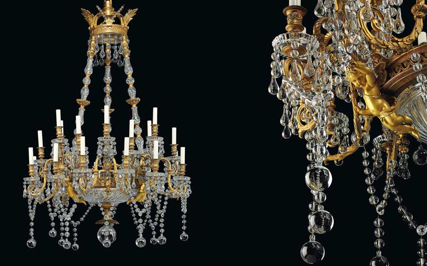 A French ormolu and cut-glass 24-light chandelier, by Baccarat, Paris, circa 1890. 60 in (152.5 cm) high; 33 in (84 cm) diameter. Estimate £30,000-50,000. Offered in The Collector Silver &