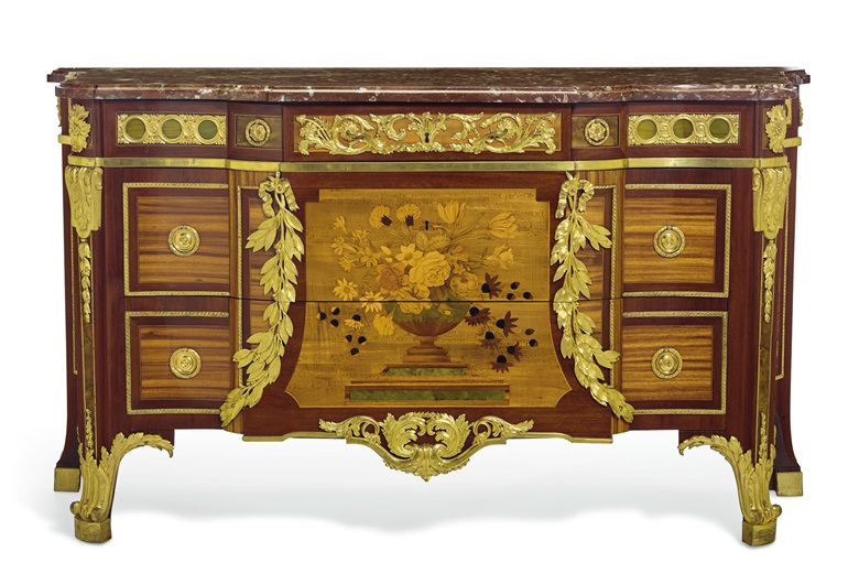 Jean-Henri Riesener (1734-1806), a Louis XVI ormulu-mounted bois satiné, amaranth, sycamore and marquetry commode, stamped JH Riesener, with painted Inventory  number '2803', 1774. 37½ in. (95 cm.) high, 65¾ in. (167 cm.) wide, 25½ in. (65 cm.) deep. Estimate $700,000-1,000,000. Offered in The Desmarais Collection A pied-à-terre in