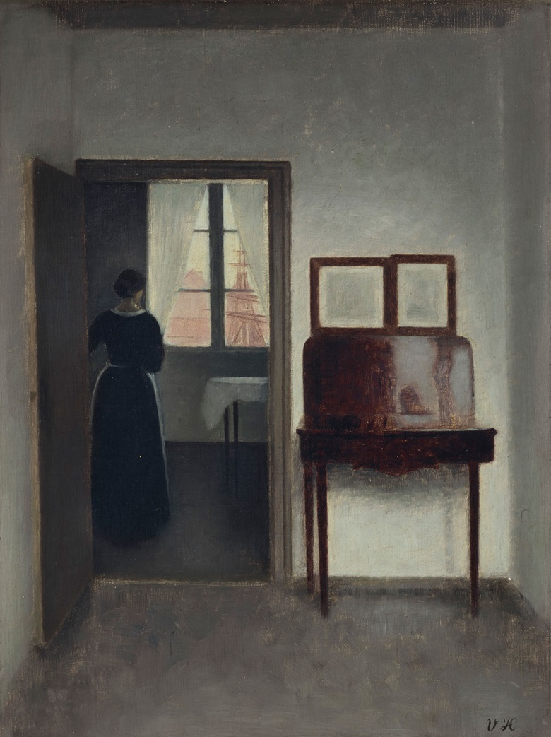 Vilhelm Hammershøi (1864-1916), Interior with a Woman (Stue med en kvinde), circa 1897. 14½ x 11  in (36.8 x 27.9  cm). Sold for $1,215,000 on 13 May 2019 at Christie's in New York
