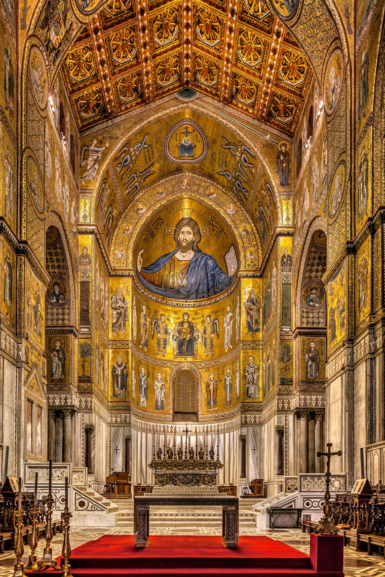 A view towards the altar at Monreale cathedral, Sicily. Photo Antonino Bartuccio4Corners