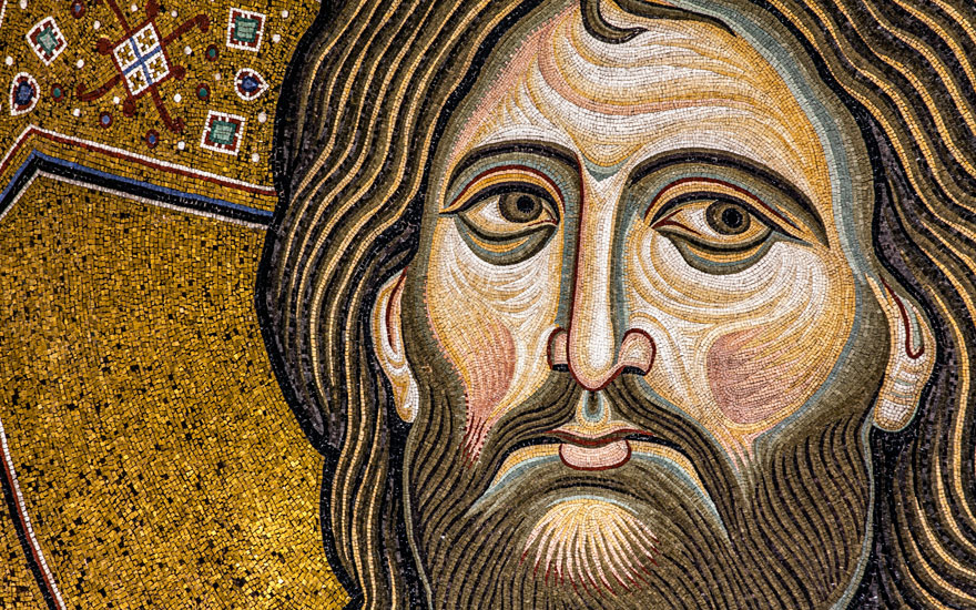 The face of Christ Pantocrator in the apse of Monreale cathedral. Photo Antonino Bartuccio4Corners