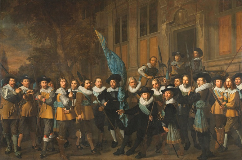 Nicolaes Eliasz Pickenoy, Officers and other Civic Guardsmen of the IV District of Amsterdam, under the Command of Captain Jan Claesz van Vlooswijck and Lieutenant Gerrit Hudde, 1642.  Oil on canvas, 340 cm × 527 cm. Rijksmuseum, Amsterdam. On loan from the City of Amsterdam. Photo Courtesy Rijksmuseum, Amsterdam