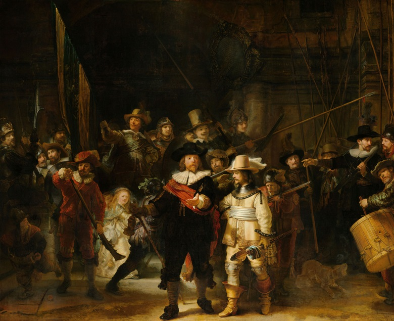 Rembrandt Harmensz. van Rijn, Militia Company of District II under the Command of Captain Frans Banninck Cocq, Known as 'The Night Watch', 1642. Oil on canvas. 379.5 cm × 453.5 cm. Rijksmuseum, Amsterdam. On loan from the City of Amsterdam. Photo Courtesy Rijksmuseum, Amsterdam