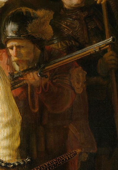 Details from The Night Watch an old man staring at his musket. Photo Courtesy Rijksmuseum, Amsterdam