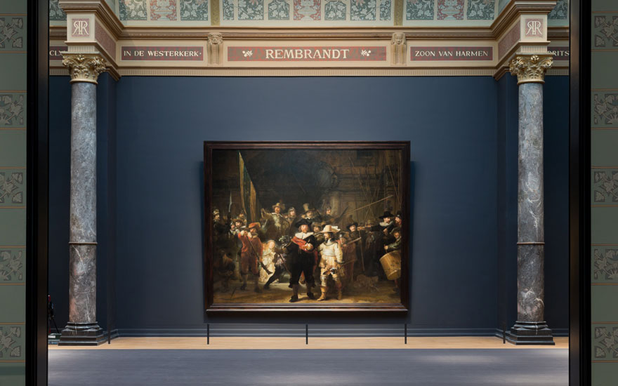 Rembrandt's The Night Watch, 1642, in the Rijksmuseum. Photo Iwan Baan. Courtesy Rijksmuseum, Amsterdam