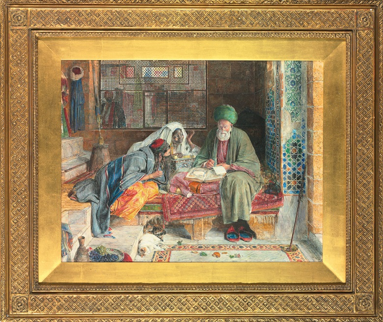 John Frederick Lewis (British, 1805-1876), The Arab Scribe, Cairo, 1852. Pencil, watercolour, bodycolour and gum arabic on paper, 18½ x 24 in. (47 x 61 cm). Sold for £2,001,250 in Oriental Masterpieces Including an Important Private Collection on 25 November 2009 at Christies in London