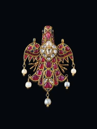 An antique diamond and multi-gem bird pendant. Estimate $60,000-80,000. Offered in Maharajas & Mughal Magnificence on 19 June 2019 at Christie's in New York