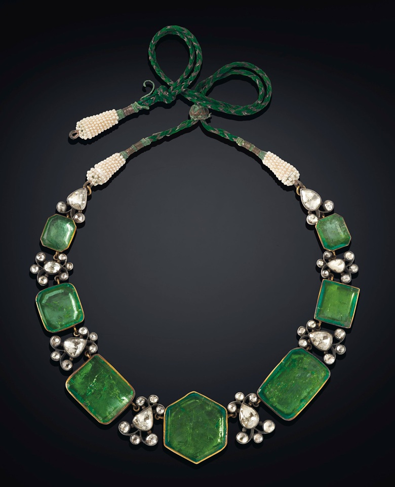 An antique emerald, diamond and pearl necklace. Estimate $200,000-300,000. Offered in Maharajas & Mughal Magnificence on 19 June 2019 at Christie's in New York