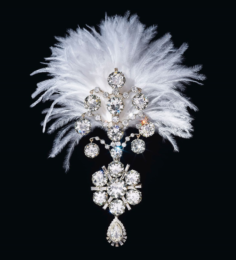 A Belle Époque diamond Jigha, the turban ornament set with old, baguette and pear-shaped diamonds, white gold, fitted with plume holder on the reverse, lower portion detachable, 5¾ in., 1907 and remodeled circa 1935. Estimate $1,200,000-2,200,000. Offered in Maharajas & Mughal Magnificence on 19 June 2019 at Christie's in New York