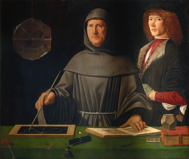 A portrait of mathematician Luca Pacioli and Unknown Young Man, attributed to the Italian Renaissance artist Jacopo de' Barbari, circa 1495-1500, and now housed in The Capodimonte Museum in Naples. Photo Scala