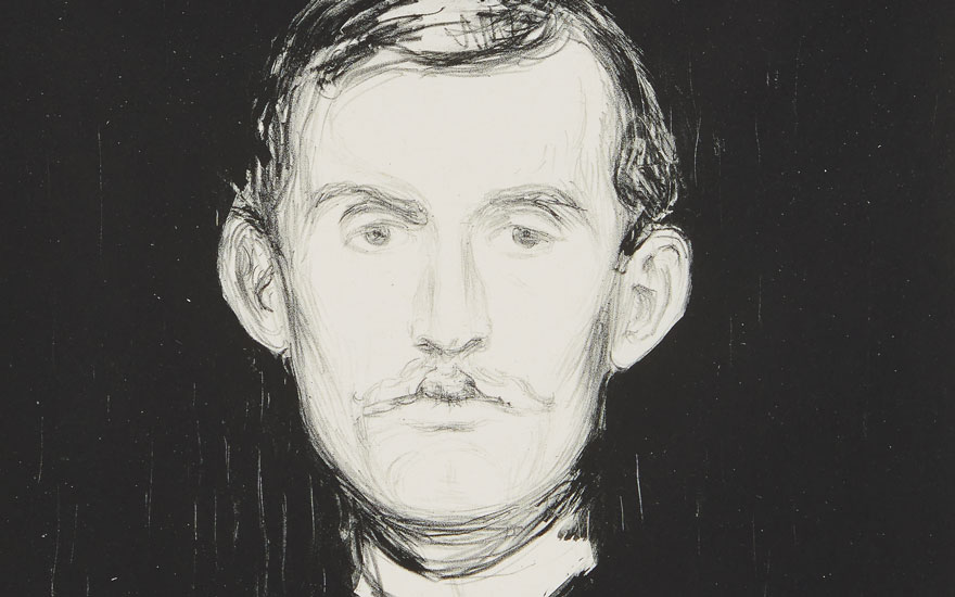 (Detail) Edvard Munch (1863-1944), Selbstporträt (Self-Portrait). Sheet 17¾ x 12⅜  in (451 x 313  mm). Offered in Prints & Multiples on 17-18 April 2019 at Christie's in New York