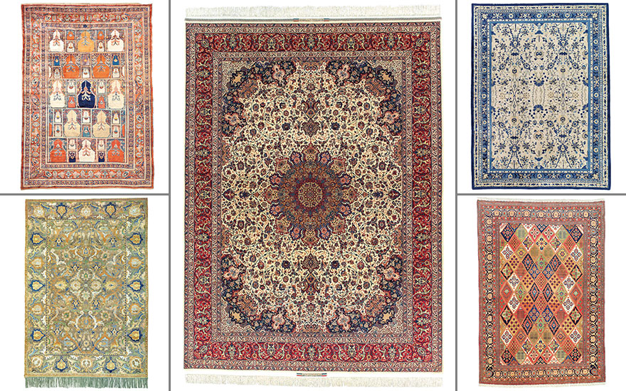 Clockwise from top left A silk Tabriz rug, North West Persia, circa 1880;