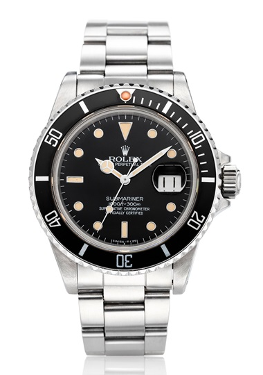 Rolex, Submariner, ref. 16800. Estimate $10,000-15,000. Offered in Christies Watches Online A Time to Remember, 23 April to 7 May