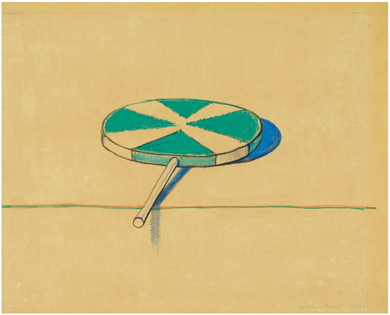 Wayne Thiebaud, Big Green Sucker, 1970. Coloured pencil on paper. 18¾ x 23¾ in. Estimate $120,000-180,000. Offered in the Post-War and Contemporary Art Morning Session on 16 May at Christie's in New York © 2019 Wayne Thiebaud  Licensed by VAGA at Artists Rights Society (ARS), NY