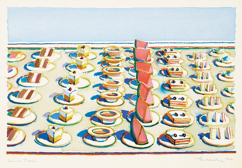 Wayne Thiebaud, Lunch Table, 1964. Watercolour and graphite on paper. 8¾ x 13 in. Estimate $400,000-600,000. Offered in the Post-War and Contemporary Art Morning Session on 16 May at Christie's in New York © 2019 Wayne Thiebaud  Licensed by VAGA at Artists Rights Society (ARS), NY