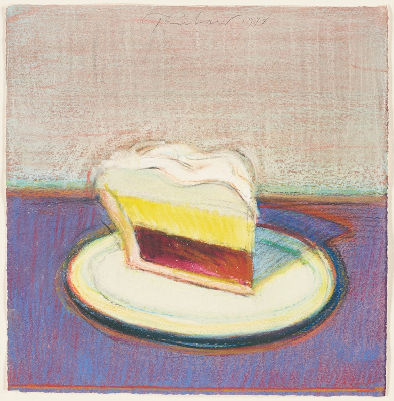 Wayne Thiebaud, Pie Slice, 1978. Pastel and watercolour on paper. 9¼ x 9 in. Estimate $300,000-500,000. Offered in the Post-War and Contemporary Art Morning Session on 16 May at Christie's in New York © 2019 Wayne Thiebaud  Licensed by VAGA at Artists Rights Society (ARS), NY