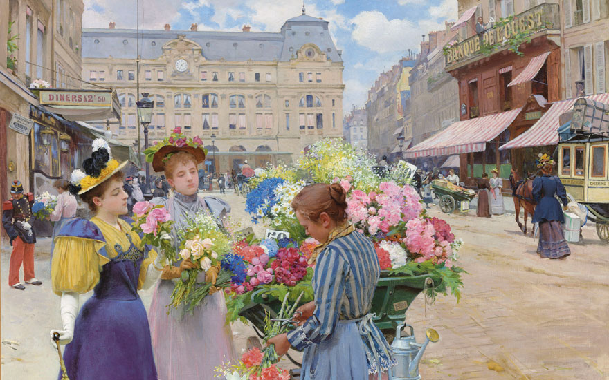 Detail of Louis Marie de Schryver's (1862-1942) Marchand de fleurs, la rue du Havre, Paris. 29 x 36½  in (73.7 x 92.7  cm). Estimate $300,000-500,000. Offered in European Art on