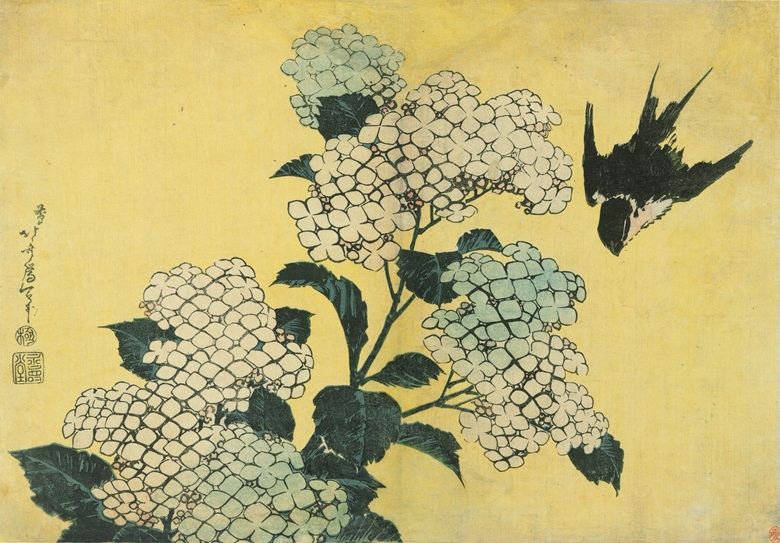Katsushika Hokusai (1760-1849), Hydrangea and Swallow, circa 1831-32. Horizontal 25.9 x 37.1 cm. Offered in Masterpieces of Ukiyo-e A Collection of Japanese Prints on 27 May at Christie's Hong Kong