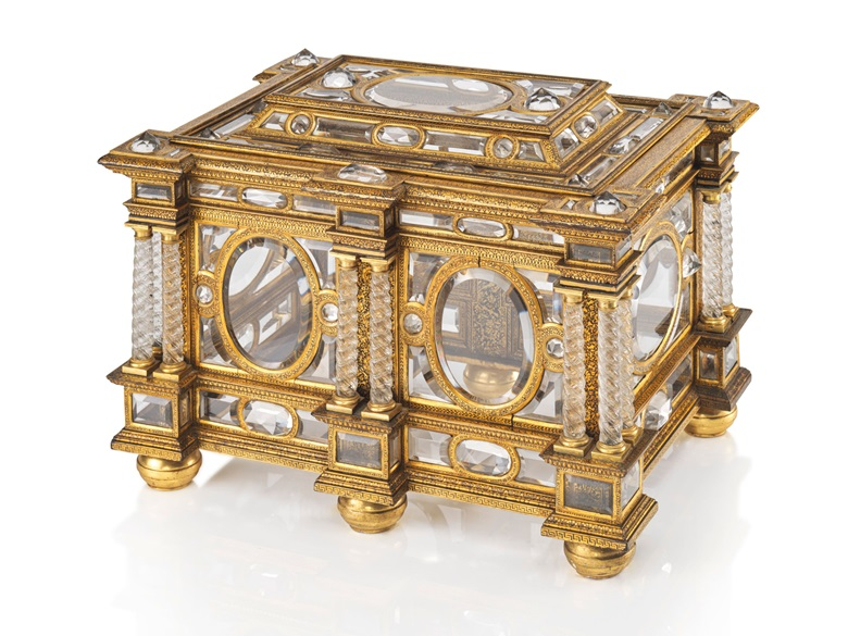 A rectangular parcel-gilt, gilt-bronze and rock-crystal casket, Venetian, circa 1600. Sold for £731,250 in Masterpieces from a Rothschild Collection on 4 July at Christie's London