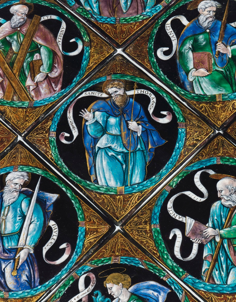 Léonard Limosin (circa 1505-15751577), circa 1550, a set of ten parcel-gilt polychrome square enamel plaques of apostles. Sold for £323,250 in Masterpieces from a Rothschild Collection on 4 July at Christie's London