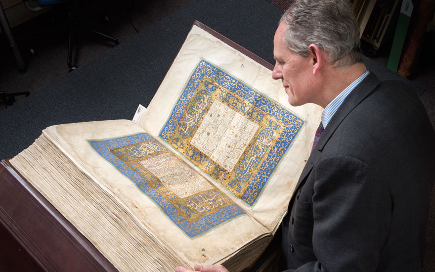William Robinson with a half-Baghdadi-sized royal Mamluk Qur'an. Sold for £3,724,750 on 2 May 2019 at Christie's in London