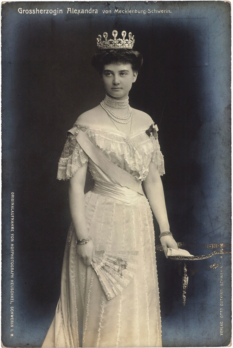 Grand Duchess Alexandra of Mecklenburg-Schwerin wearing the rare aquamarine and diamond tiara by Fabergé. Private Collection © Arkivi UG All Rights ReservedBridgeman Images