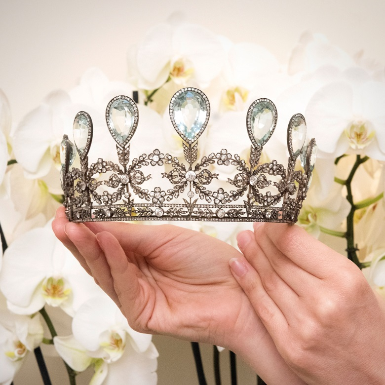 A rare aquamarine and diamond tiara, Fabergé, 1904. Estimate CHFUSD 230,000-340,000. Offered in Magnificent Jewels on 15 May at Christie's in Geneva