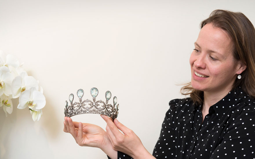Angela Berden with the royal Fabergé tiara. Offered in Magnificent Jewels on 15 May 2019 at Christie's in Geneva