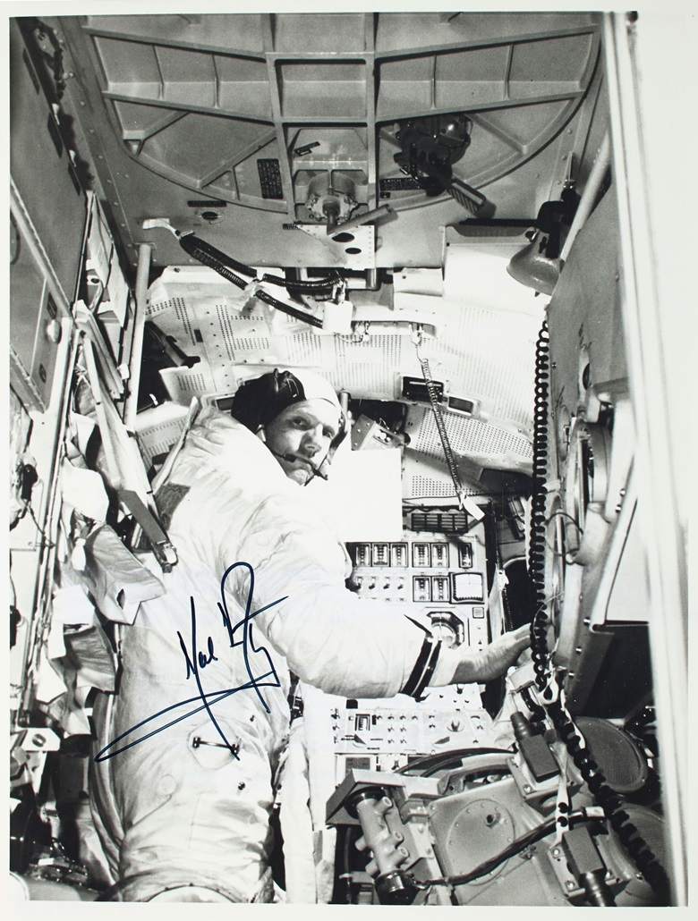 A signed photograph of Commander Neil A. Armstrong aboard a lunar module simulator, taken about a month before the Apollo 11 mission. Estimate $4,000-6,000. Offered in One Giant Leap Celebrating Space Exploration 50 Years after Apollo 11 on 18 July at Christie's in New York