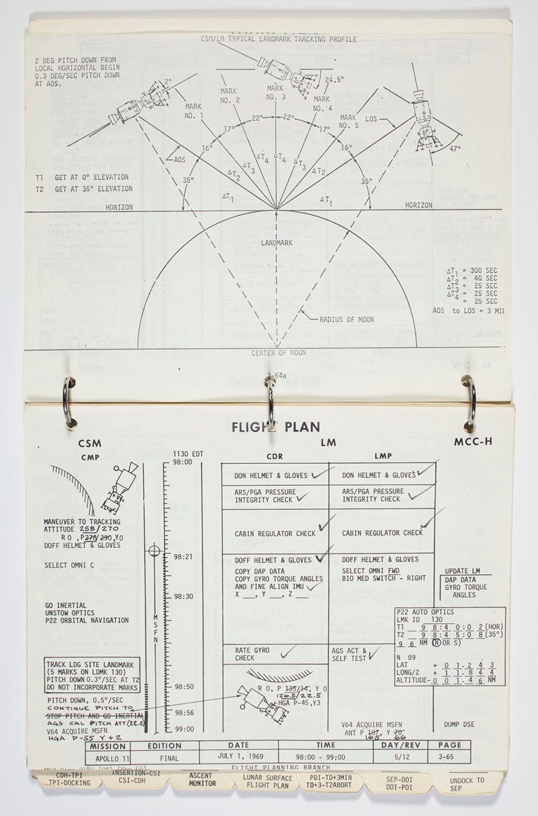 Apollo 11 Lunar Module Timeline Book. [Houston] Manned Spacecraft Center, Flight Planning Branch, June 19-July 12, 1969. Flown aboard the Lunar Module Eagle and annotated by Neil Armstrong and Buzz Aldrin as they landed on the moon. Estimate $7,000,000-9,000,000. Offered in One Giant Leap Celebrating Space Exploration 50 Years after Apollo 11 on 18 July at Christie's in New York