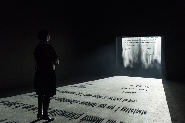 Jitish Kallat, Covering Letter, 2012. FogScreen Projection. Installation dimensions variable. Image courtesy Philadelphia Museum of Art. Collection Artist