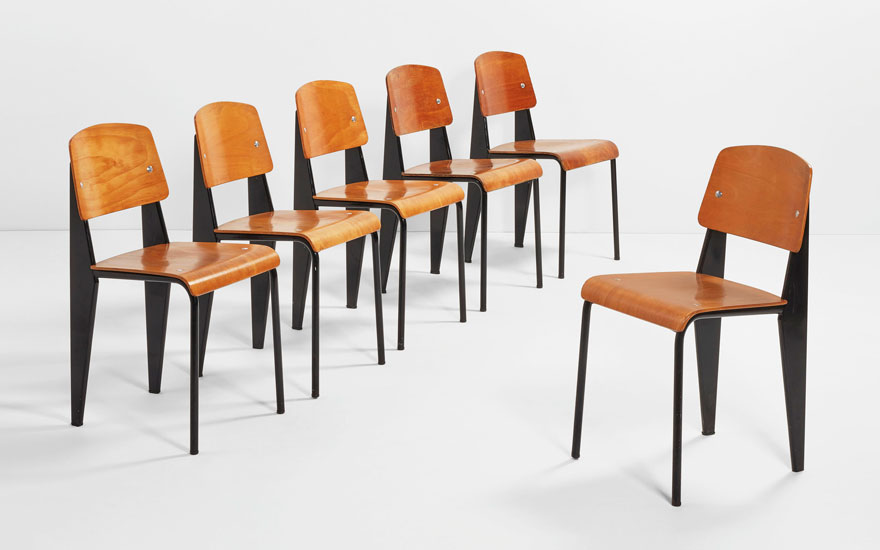 Jean Prouvé (1901-1984), Group of six chairs 'Métropole', Model No. 305 created circa 1950. Each H 81.5 cm (32⅛ in). Estimate €40,000-60,000. Offered in Design on 21 May