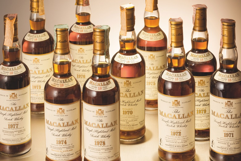 Macallan Single Malt Vertical 1970-1979. 10 bottles. Estimate HK$240,000-350,000. Offered in Finest & Rarest Wines and Spirits Featuring Prestigious Collections & Exceptional Whisky on 25 May in Hong Kong