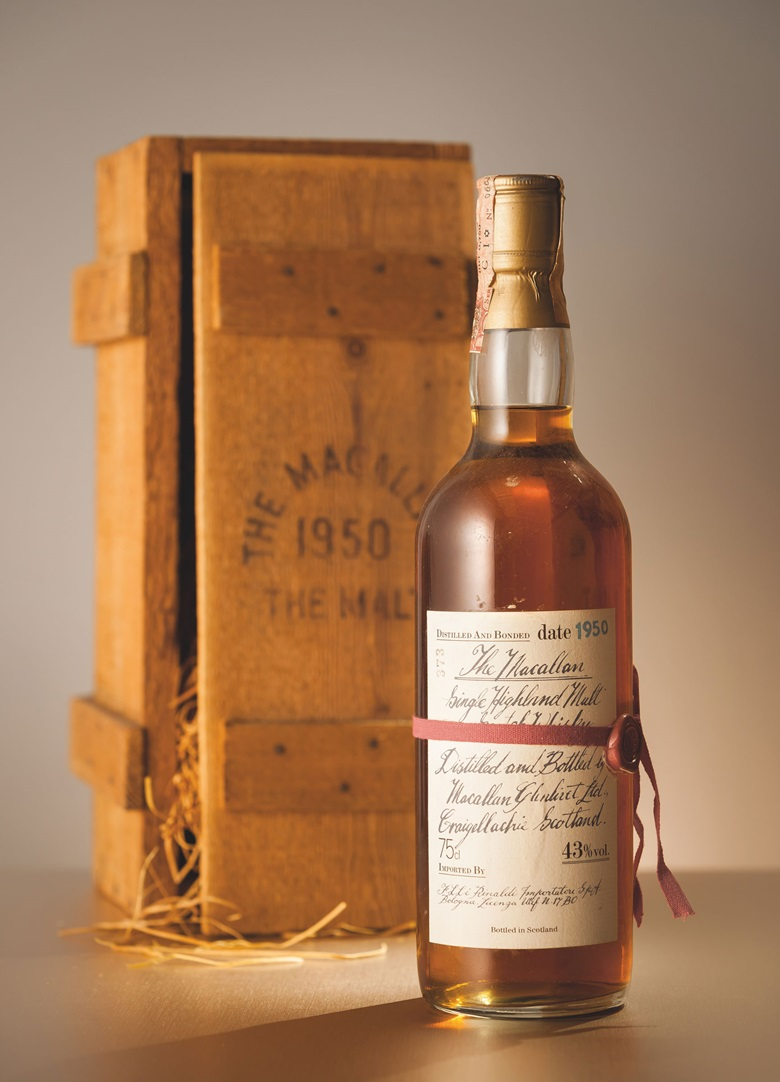 Macallan Red Ribbon 1950. 1 bottle. Estimate HK$75,000-100,000. Offered in Finest & Rarest Wines and Spirits Featuring Prestigious Collections & Exceptional Whisky on 25 May in Hong Kong