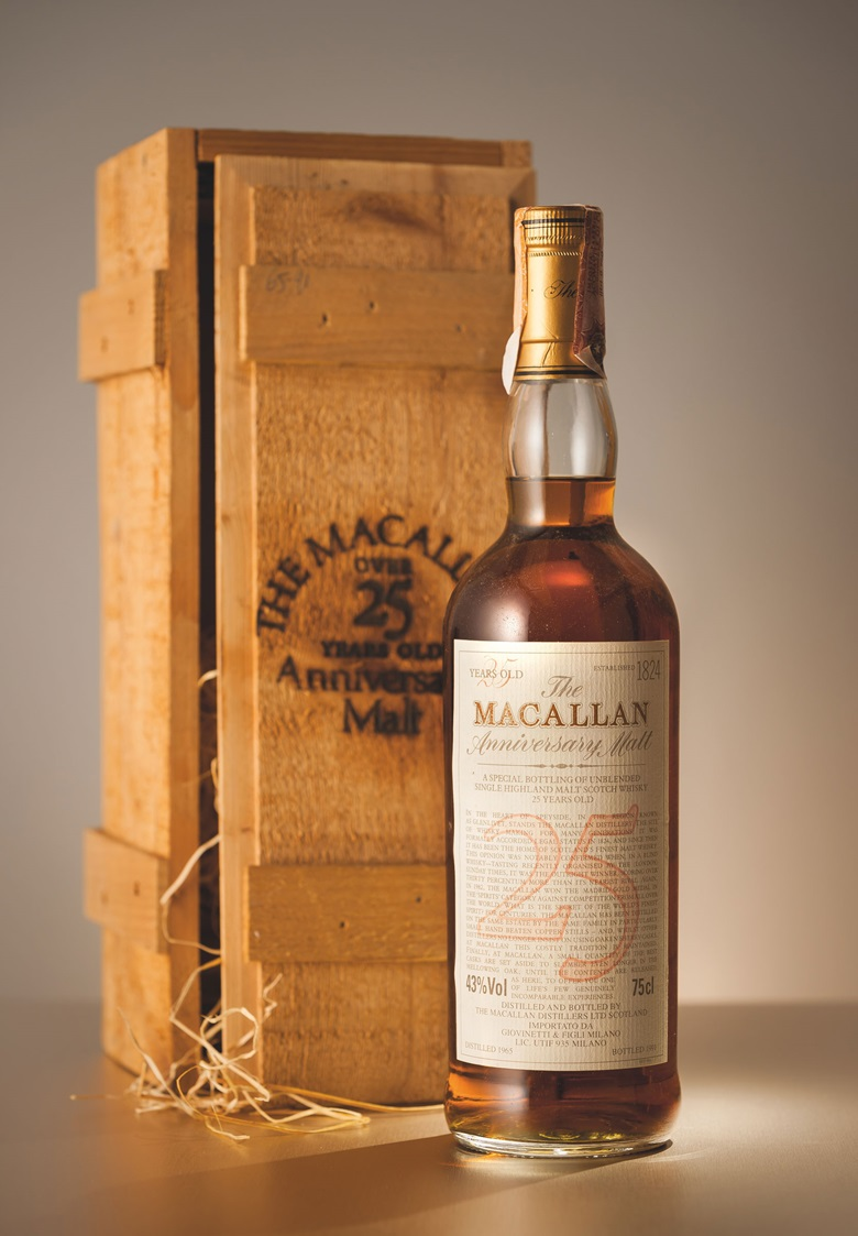 Macallan Anniversary Malt — 25 Years Old. 1 bottle. Estimate HK$40,000-60,000. Offered in Finest & Rarest Wines and Spirits Featuring Prestigious Collections & Exceptional Whisky on 25 May in Hong Kong