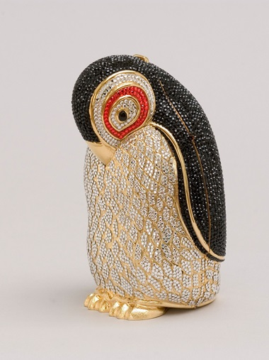 Judith Leiber, penguin-shaped minaudière with crystal rhinestones and semi-precious stone details, 2011. 6¾  x 3⅛ x 3⅜ in (17.1 x 7.9 x 8.6 cm). Photo Gary Mamay, courtesy of The Leiber Collection, USA
