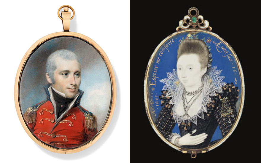 From left George Engleheart (British, 175052-1829), An Army officer in uniform. Offered in The Collector English Furniture, Works of Art and Portrait Miniatures on 22 May 2019 at