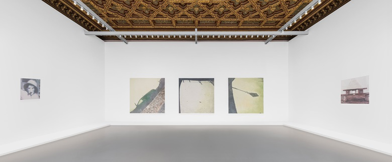 (From left to right) Luc Tuymans, Issei Sagawa, 2014, Tate; Murky Water, 2015, Collezione Prada, Milano; Le Mépris, 2015, Collection of Mimi Haas. Installation view at Palazzo Grassi, 2019. © Palazzo Grassi, Photography by Delfino Sisto Legnani e Marco Cappelletti
