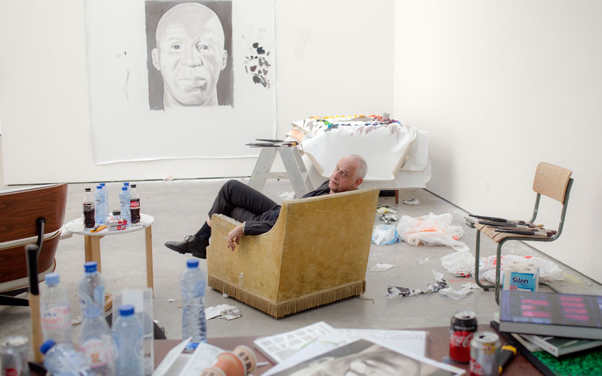 Luc Tuymans in his studio. Photographed by Paul Rousteau