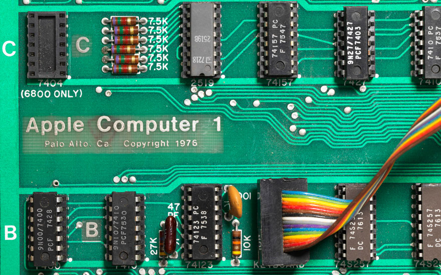 Detail of the mainboard of the Apple-1 — one of the first batch issued in April 1976 — offered online, 16-23 May. The second batch features an NTI logo