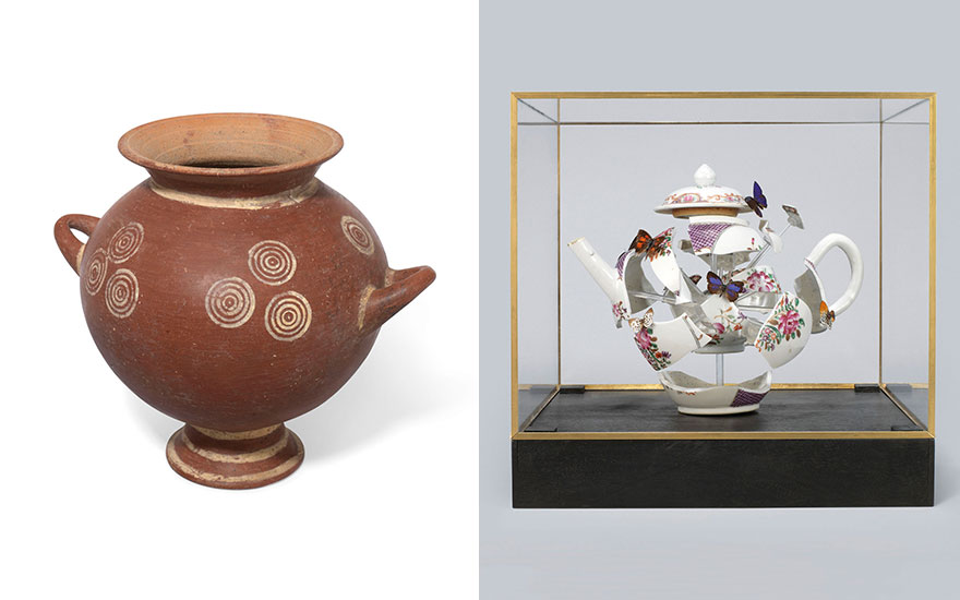 From left an Etruscan impasto white-on-red ware olla, circa 7th century B.C. 7  in (17.7  cm) high. Estimate £3,000-5,000. Bouke de Vries (b. 1960), Deconstructed teapot with