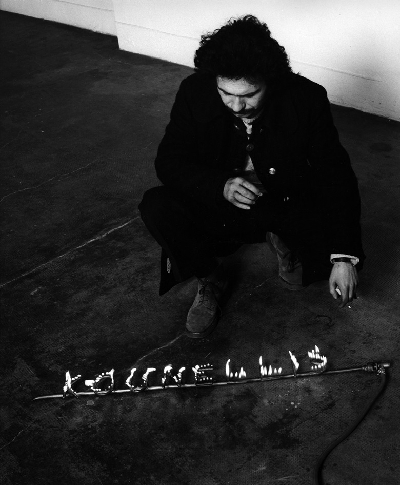 Portrait of Jannis Kounellis, Galleria Gian Enzo Sperone, Torino 1971. Photo © Paolo Mussat Sartor