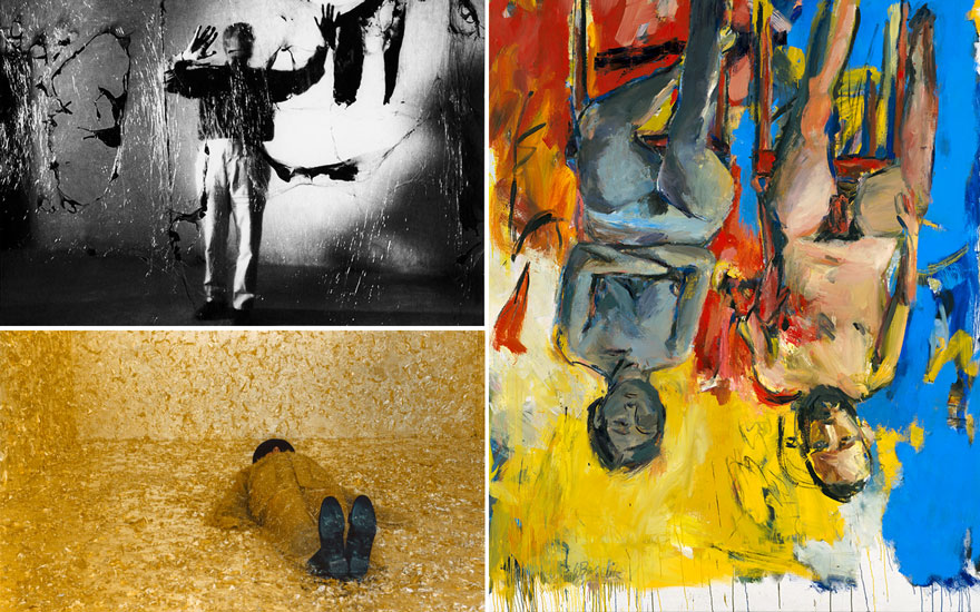 Clockwise from top left Alberto Burri, Grande Plastica, Grottarossa, 1962 © Aurelio Amendola; Georg Baselitz (b.1938), Schlafzimmer (Bedroom), 1975. Oil and charcoal on canvas.