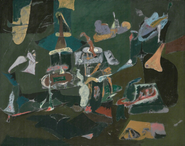 Arshile Gorky (1904-1948), Dark Green Painting, circa 1948. Oil on canvas. Dimensions 43 34 x 55 12 in (111.1 x 141 cm). Philadelphia Museum of Art. Gift (by exchange) of Mr. and Mrs. Rodolphe Meyer de Schauensee and R. Sturgis and Marion B. F. Ingersoll, 1995, 1995-54-1