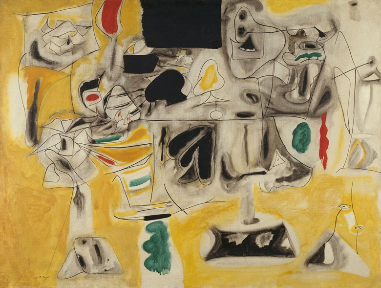 Arshile Gorky, Landscape-Table, 1945. Oil on canvas. Dimensions 36 1⁄4 x 47 5⁄8 in (92 x 121 cm). Centre Pompidou, Musée national d'art moderneCentre de création industrielle, Paris. Purchased 1971, AM 1971-151