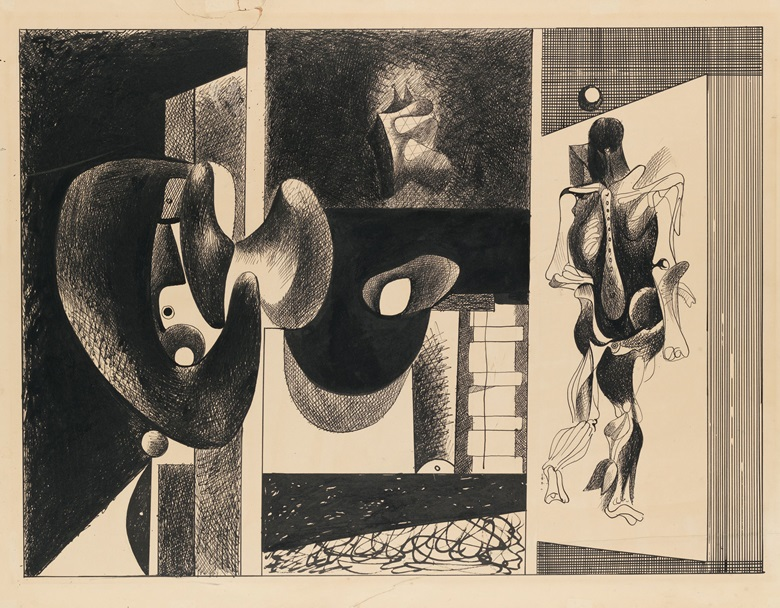 Arshile Gorky, Nighttime, Enigma and Nostalgia, circa 1931–32. Pen and ink on board. Dimensions 26 1⁄8 x 34 1⁄8 in (66.2 x 86.7 cm). Whitney Museum of American Art, New York. 50th Anniversary Gift of Mr. and Mrs. Edwin A. Bergman