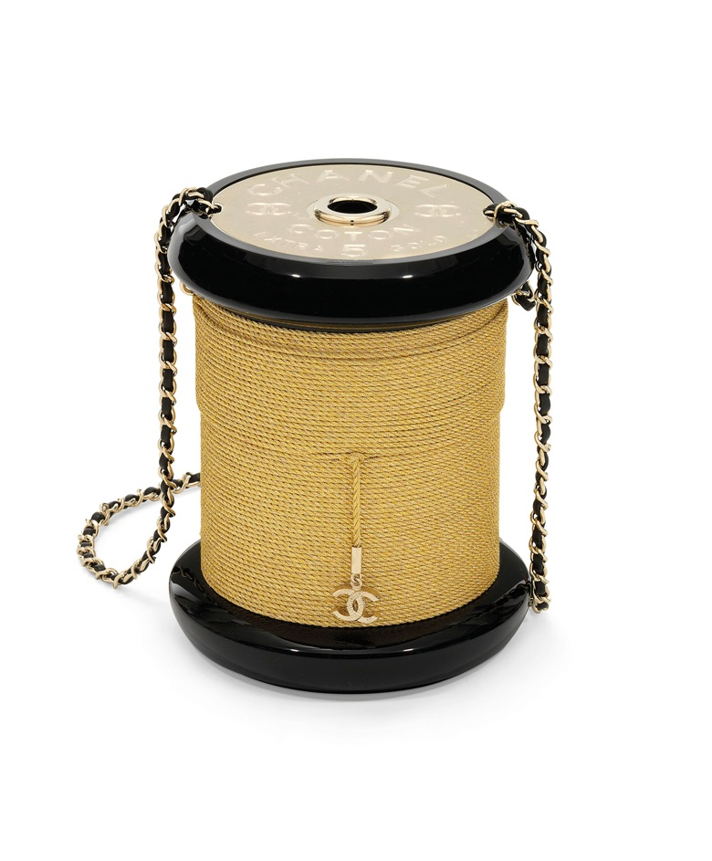 2a142526d5bd A fall runway gold and black lucite Spool evening bag with gold hardware,  Chanel,